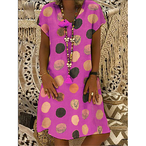 Women's A-Line Dress Knee Length Dress - Short Sleeves Polka Dot Patchwork Summer Casual Vintage Daily 2020 Purple Red Yellow Blushing Pink S M L XL XXL XXXL