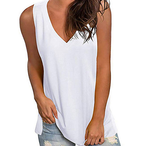 Women's Holiday Tank Top Vest T shirt Solid Colored V Neck Basic Vacation Tops White Black Blue