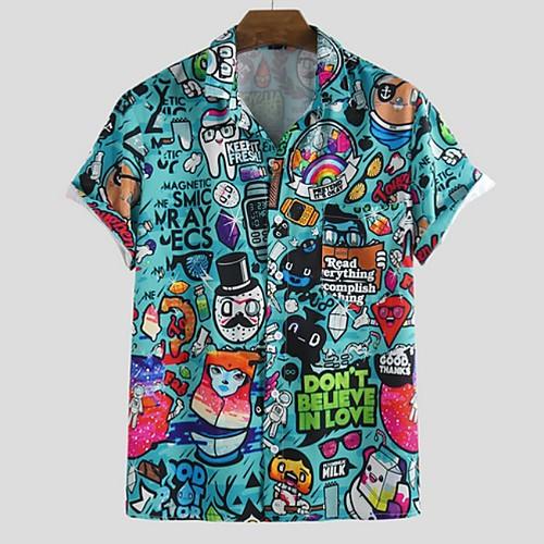 Men's Cartoon Shirt - Cotton Tropical Hawaiian Holiday Beach Button Down Collar Blue / Light Blue / Short Sleeve