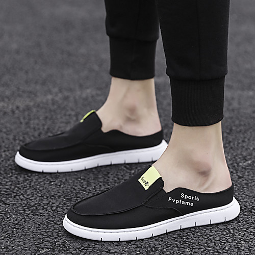 Men's Spring & Summer Classic / British Daily Outdoor Loafers & Slip-Ons Walking Shoes Canvas Breathable Wear Proof Black / Beige / Gray
