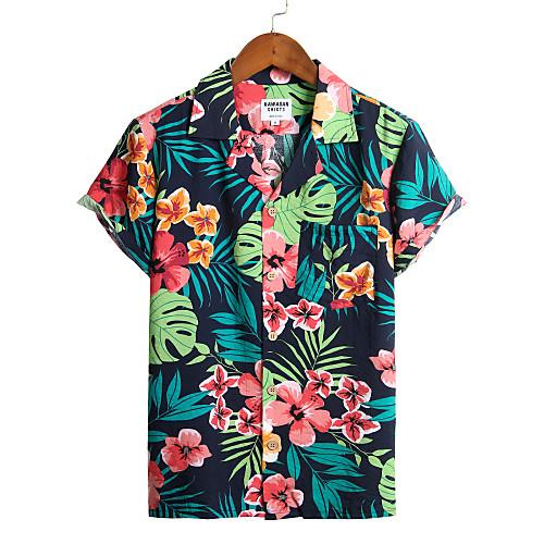 Men's Floral Shirt - Cotton Tropical Hawaiian Holiday Beach Classic Collar Button Down Collar Navy Blue / Short Sleeve
