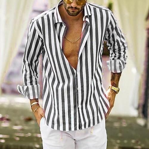 Men's Striped Shirt - Cotton Tropical Hawaiian Holiday Beach Button Down Collar Black / Blue / Yellow / Gray / Long Sleeve