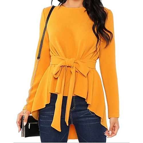 Women's Solid Colored Blouse Daily Weekend Wine / Black / Red / Yellow / Blushing Pink / Green
