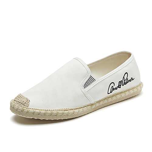 Men's Spring & Summer Classic / British Daily Outdoor Loafers & Slip-Ons Walking Shoes Canvas Breathable Wear Proof White / Black / Beige