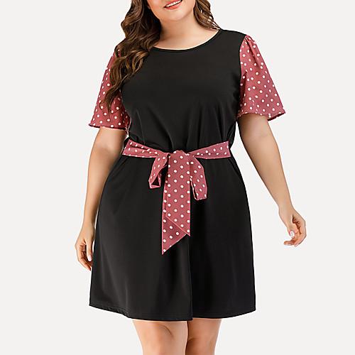 Women's Plus Size A Line Dress - Short Sleeves Polka Dot Solid Color Patchwork Summer Casual Elegant Daily Going out 2020 Black L XL XXL XXXL XXXXL