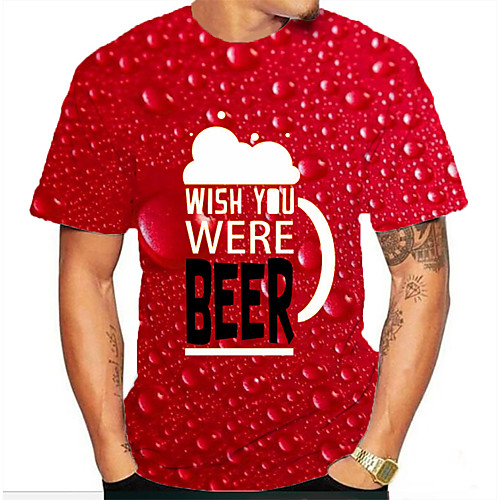 Men's T shirt Graphic Beer Print Short Sleeve Daily Tops Basic Red