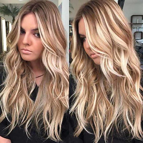Synthetic Wig Curly Middle Part Wig Very Long Light Brown Synthetic Hair 26 inch Women's Ombre Hair Highlighted / Balayage Hair curling Brown