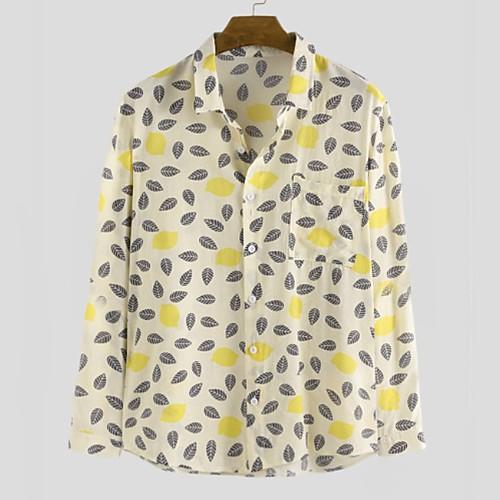 Men's Geometric Shirt - Cotton Tropical Hawaiian Holiday Beach Black / Blue / Yellow / Long Sleeve