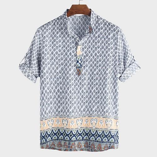 Men's Geometric Shirt - Cotton Tropical Hawaiian Holiday Beach Standing Collar Red / Green / Light Blue / Short Sleeve