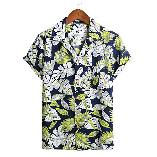 Men's Floral Shirt - Cotton Tropical Hawaiian Holiday Beach Classic Collar Button Down Collar Navy Blue / Short Sleeve