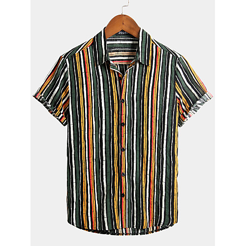 Men's Striped Graffiti Shirt - Cotton Tropical Hawaiian Holiday Beach Classic Collar Button Down Collar Green / Short Sleeve