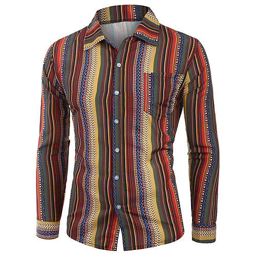 Men's Striped Shirt - Cotton Tropical Hawaiian Holiday Going out Button Down Collar Red / Orange / Green / Long Sleeve