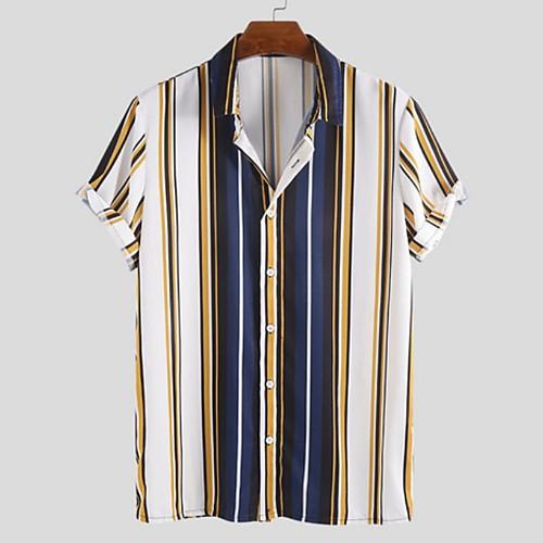 Men's Striped Shirt - Cotton Tropical Hawaiian Holiday Beach Black / Yellow / Light Blue / Short Sleeve