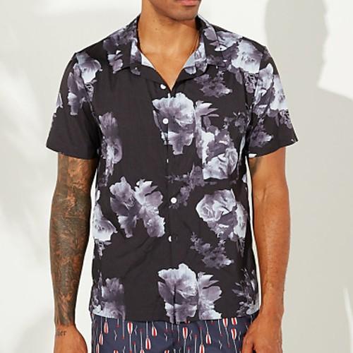 Men's Floral Shirt - Cotton Tropical Hawaiian Holiday Beach Button Down Collar White / Black / Short Sleeve