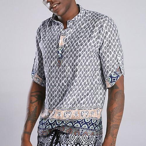 Men's Geometric Shirt - Cotton Tropical Hawaiian Holiday Beach Button Down Collar Standing Collar Red / Green / Light Blue / Short Sleeve