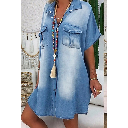 Women's Denim Shirt Dress Knee Length Dress - Short Sleeve Summer V Neck Casual 100% Cotton 2020 Blue Dusty Blue Light Blue S M L XL XXL XXXL