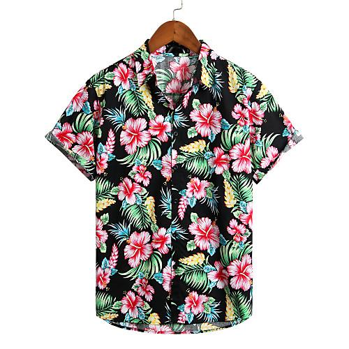 Men's Floral Shirt - Cotton Tropical Hawaiian Holiday Beach Classic Collar Button Down Collar Black / Short Sleeve