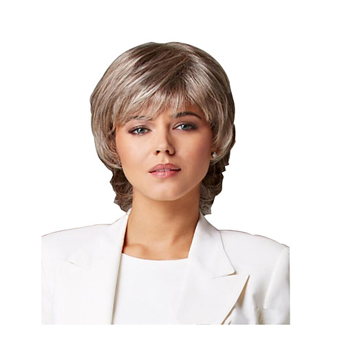 Synthetic Wig Curly Matte Layered Haircut Wig Short Light golden Synthetic Hair 6 inch Women's Easy dressing Best Quality Fluffy Blonde