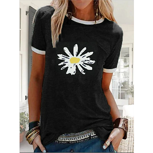 Women's T-shirt Daisy Print Short Sleeve Tops Basic Black Blue Purple