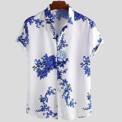 Men's Floral Shirt - Cotton Tropical Hawaiian Holiday Beach Blue / Green / Gray / Short Sleeve