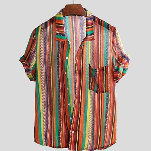 Men's Striped Shirt - Cotton Tropical Hawaiian Holiday Beach Button Down Collar Red / Green / Brown / Short Sleeve