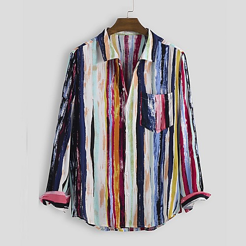 Men's Striped Shirt - Cotton Tropical Hawaiian Holiday Beach Red / Green / Beige / Long Sleeve