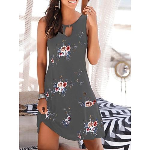 Women's A-Line Dress Knee Length Dress - Sleeveless Floral Summer Elegant 2020 White Black Navy Blue Gray S M L XL XXL XXXL