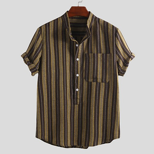 Men's Striped Shirt - Cotton Tropical Hawaiian Holiday Beach Button Down Collar Standing Collar Red / Yellow / Brown / Short Sleeve