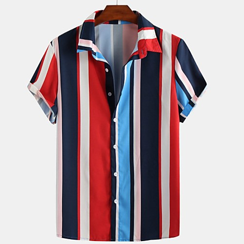 Men's Striped Shirt - Cotton Tropical Hawaiian Holiday Beach Button Down Collar Red / Brown / Light Blue / Short Sleeve