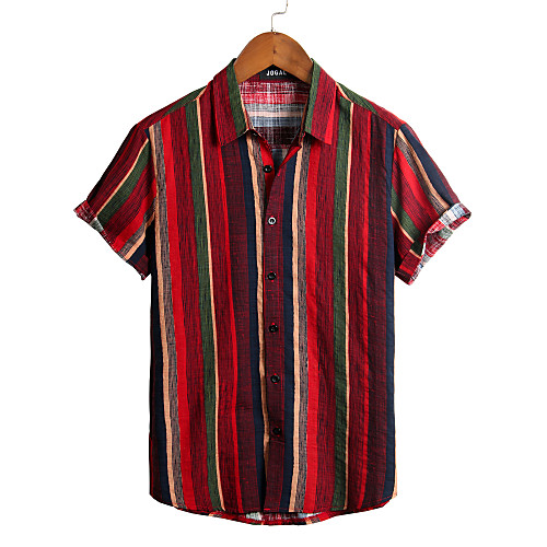 Men's Striped Shirt - Cotton Tropical Hawaiian Holiday Beach Classic Collar Button Down Collar Red / Short Sleeve