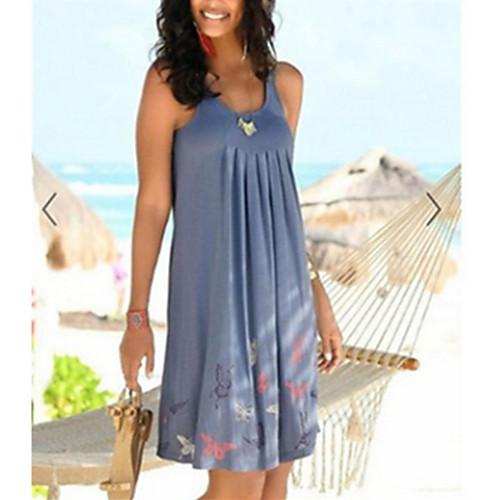Women's Sheath Dress - Sleeveless Polka Dot Summer Elegant 2020 White Black Blue Gray Light Blue S M L XL XXL XXXL XXXXL XXXXXL
