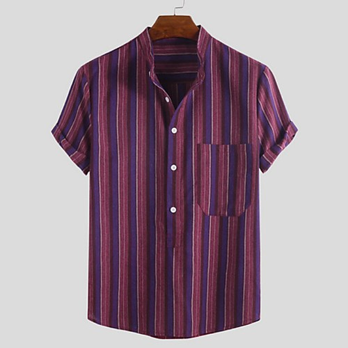 Men's Striped Shirt - Cotton Tropical Hawaiian Holiday Beach Button Down Collar Standing Collar Red / Brown / Short Sleeve