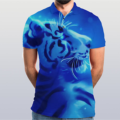 Men's Graphic Animal Tiger Slim Polo Basic Elegant Daily Going out Blue / Short Sleeve