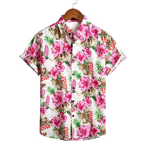 Men's Floral Shirt - Cotton Tropical Hawaiian Holiday Beach Classic Collar Button Down Collar White / Short Sleeve