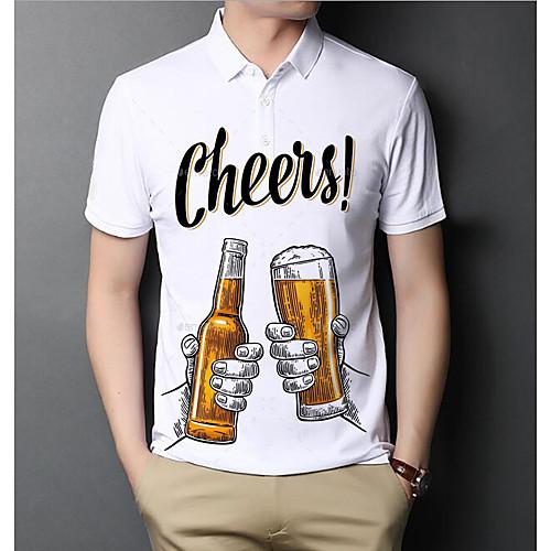 Men's Polo Graphic Beer Letter Short Sleeve Daily Tops Basic Elegant White