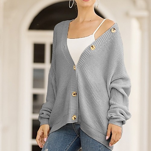 lightinthebox / Damen Solide Langarm Strickjacke Pullover Jumper, V-Ausschnitt Weiß / Blau / Rosa S / M / L