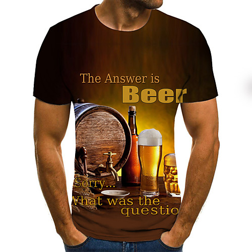 Men's Tee T shirt 3D Print Graphic Beer Plus Size Pleated Print Short Sleeve Daily Tops Basic Designer Streetwear 3D Round Neck Yellow / Summer / Exaggerated