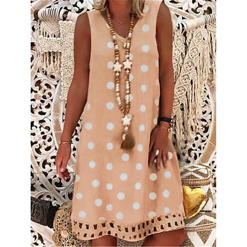 Women's Sundress Knee Length Dress - Sleeveless Polka Dot Print Summer V Neck Casual Vacation 2020 Black Red Yellow Army Green Khaki Gray S M L XL XXL XXXL XXXXL XXXXXL