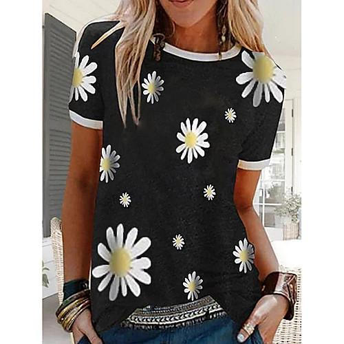 Women's T-shirt Floral Graphic Prints Short Sleeve Tops Black Blue Red