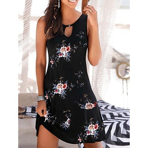 Women's A-Line Dress Knee Length Dress - Sleeveless Floral Summer Casual 2020 White Black Dark Gray Navy Blue Gray S M L XL XXL XXXL
