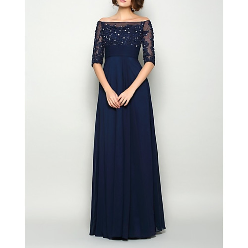 Sheath / Column Mother of the Bride Dress Elegant Illusion Neck Off Shoulder Floor Length Chiffon Half Sleeve with Pleats Beading 2021