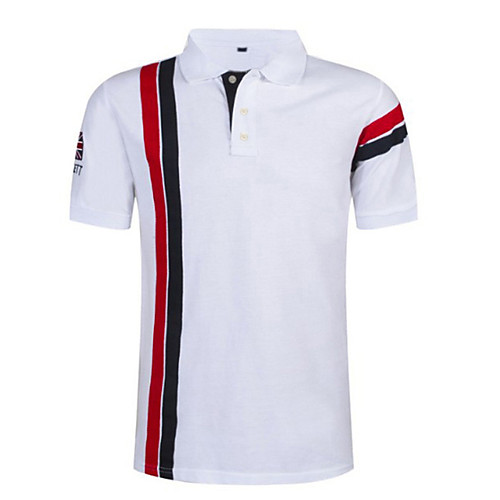 Men's Polo Striped Tops White Red Navy Blue, lightinthebox  - buy with discount
