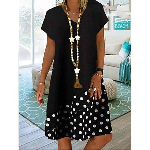 Women's A-Line Dress Knee Length Dress - Short Sleeves Polka Dot Summer V Neck Casual Boho Vacation 2020 White Black S M L XL XXL XXXL XXXXL XXXXXL