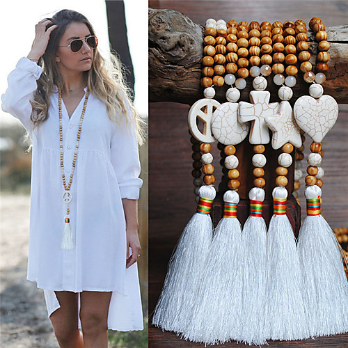 Women's Necklace Long Necklace Tassel Ethnic Fashion European Trendy Wood Stone 90 cm Necklace Jewelry For Street Birthday Party Beach Festival