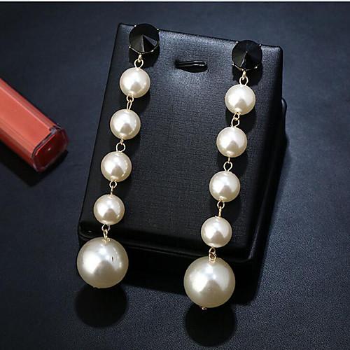 Women's Pearl Drop Earrings Geometrical Fashion Stylish Imitation Pearl Earrings Jewelry White For