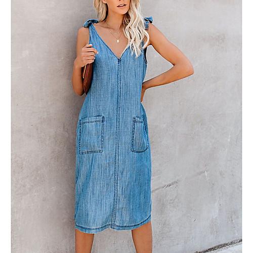 lightinthebox / Mujer Vestido de cambio Vaqueros Vestido hasta la Rodilla - Sin Mangas Color sólido Verano Escote en Pico Trabajo Vaqueros 2020 Azul Piscina S M L XL