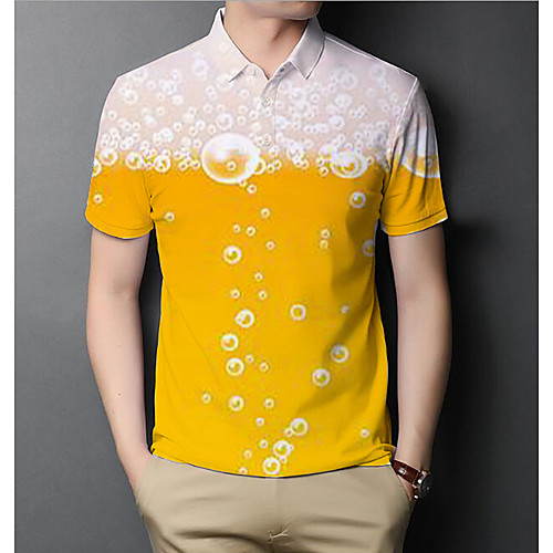 Men's Graphic Beer Slim Polo Basic Elegant Daily Going out Yellow / Short Sleeve