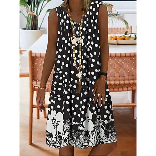 Women's A-Line Dress Knee Length Dress - Sleeveless Polka Dot Floral Summer V Neck Casual Boho Vacation 2020 Black Blue Green S M L XL XXL XXXL XXXXL XXXXXL