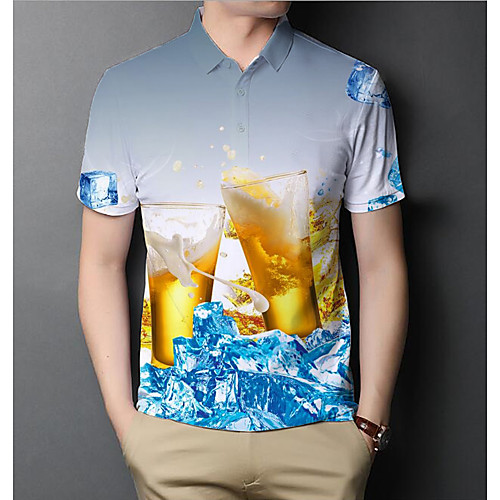 Men's Graphic Beer Slim Polo Basic Elegant Daily Going out Rainbow / Short Sleeve