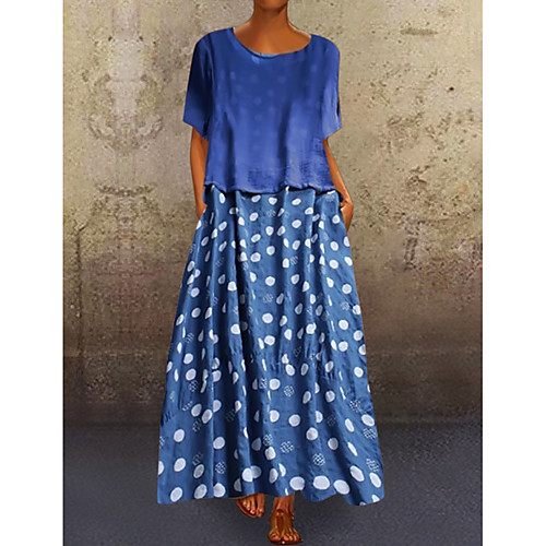 Women's Loose Maxi long Dress - Short Sleeves Polka Dot Print Spring & Summer Plus Size Abaya Holiday Vacation Casual / Daily Loose 2020 Black Blue Yellow L XL XXL XXXL XXXXL XXXXXL